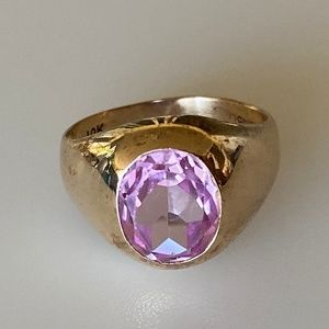 Art Deco 10k Mens Pink Sapphire Statement Ring 5g